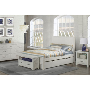 Highlands White Full Flat Panel Bed With Trundle