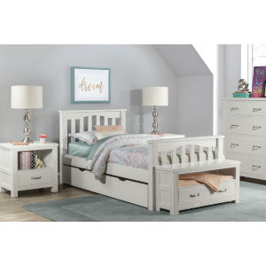 Highlands White Twin Harper Bed With Trundle