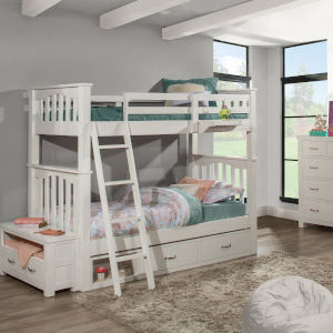 Highlands White Twin Bunk Bed With 2 Storage Unit And Hanging Nightstand