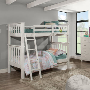 Highlands White Twin Bunk Bed With Hanging Nightstand