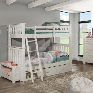 Highlands White Twin Bunk Bed With Storage Unit