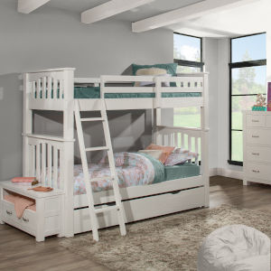 Highlands White Twin Bunk Bed With Trundle