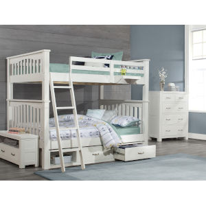 Highlands White Full Bunk Bed With Storage Unit And Hanging Nightstand