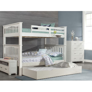 Highlands White Full Bunk Bed With Trundle And Hanging Nightstand