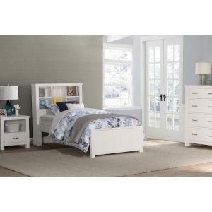 Highlands White Twin Bookcase Bed