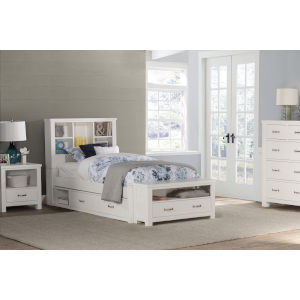 Highlands White Twin Bookcase Bed With 2 Storage Unit