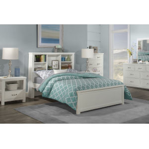 Highlands White Full Bookcase Bed
