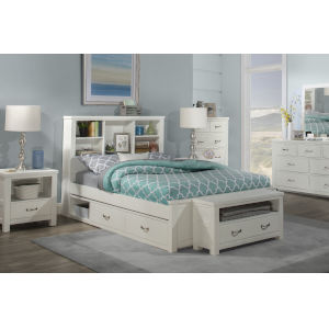 Highlands White Full Bookcase Bed With 2 Storage Unit