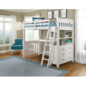 Highlands White Twin Loft Bed