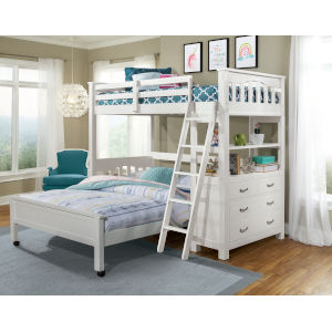 Highlands White Twin Loft Bed With Full Lower Bed