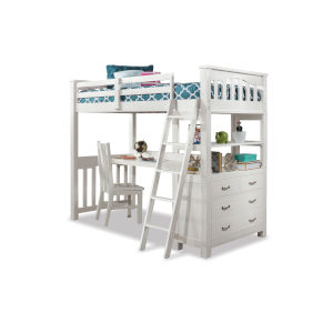 Highlands White Full Loft Bed With Desk And Chair