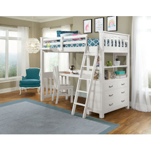 Highlands White Full Loft Bed With Desk, Chair And Hanging Nightstand