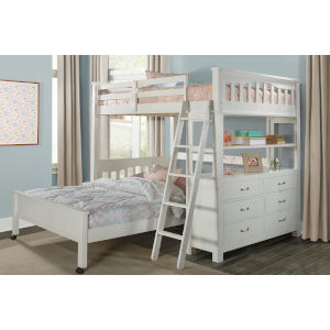 Highlands White Full Loft Bed With Full Lower Bed