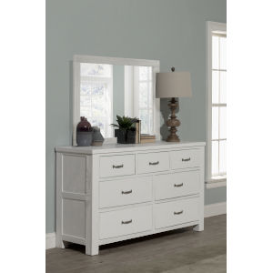 Highlands White 7 Drawer Dresser With Mirror