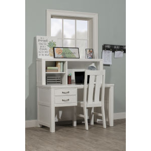 Highlands White Desk With Hutch And Chair
