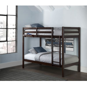 Caspian Chocolate Twin Over Twin Bunk With Hanging Nightstand