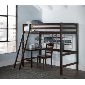 Caspian Chocolate Twin Study Loft With Chair And Hanging Nightstand