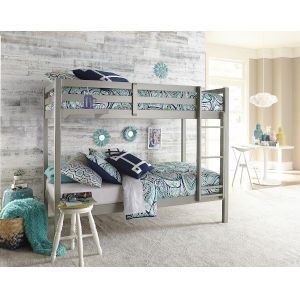 Caspian Gray Twin Over Twin Bunk With Hanging Nightstand