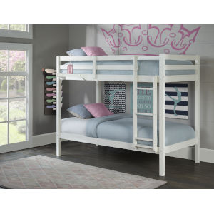 Caspian White Twin Over Twin Bunk With Hanging Nightstand