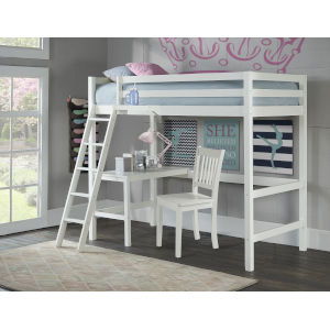 Caspian White Twin Study Loft With Chair And Hanging Nightstand