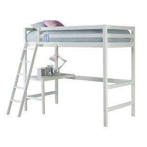 Caspian White Twin Study Loft With Hanging Nightstand