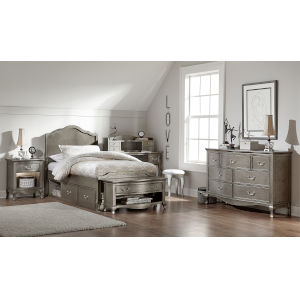 Kensington Antique Silver Twin Panel Bed With Storage
