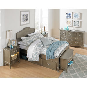 Kensington Antique Silver Full Panel Bed With Storage