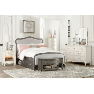 Kensington Antique Silver Full Upholstered Panel Bed With Storage