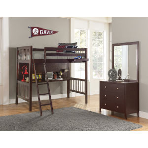 Pulse Cherry Twin Loft Bed With Hanging Nightstand