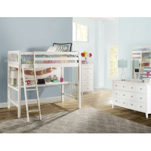 Pulse White Twin Loft Bed