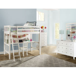Pulse White Twin Loft Bed With Chair