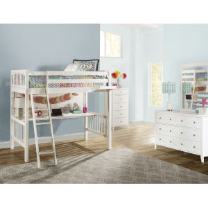 Pulse White Twin Loft Bed With Hanging Nightstand
