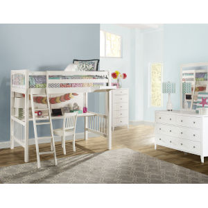 Pulse White Twin Loft Bed With Chair And Hanging Nightstand
