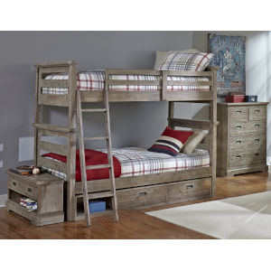 Oxford Cocoa Twin Over Twin Bunk Bed With Storage