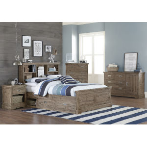 Oxford Cocoa Full Bookcase Bed With Storage