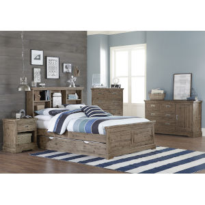 Oxford Cocoa Full Bookcase Bed With Trundle