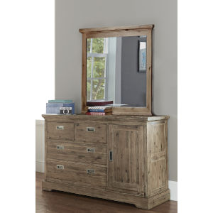 Oxford Cocoa 4 Drawer Dresser With Door And Mirror