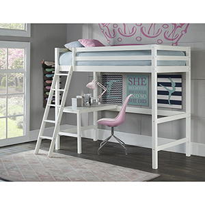 Hillsdale Caspain Twin Study Loft, White
