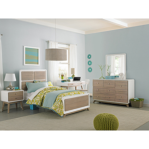 East End Taupe and White Panel Twin Bed