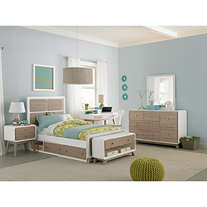 East End Taupe and White Panel Twin Bed with Storage