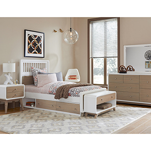 East End Taupe and White Spindle Twin Bed with Storage