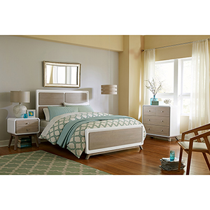 East End Taupe and White Panel Full Bed