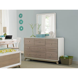 East End Taupe and White 6 Drawer Dresser with Mirror