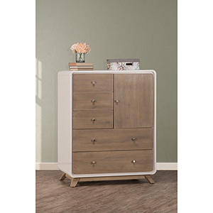 East End Taupe and White 5 Drawer Chest