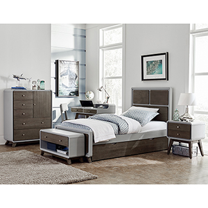 East End Gray Panel Twin Bed with Storage