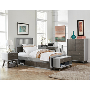 East End Gray Spindle Twin Bed with Storage