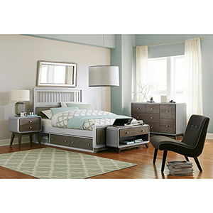 East End Gray Spindle Full Bed with Storage