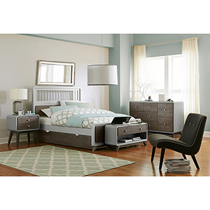 East End Gray Spindle Full Bed with Trundle