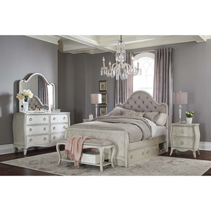 Angela Full Arc Upholstered Bed with Storage Unit
