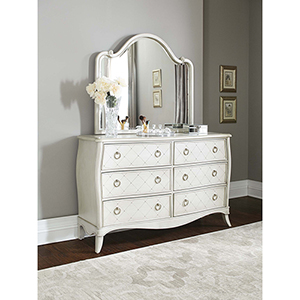 Angela 6 Drawer Dresser with Wood Arc Mirror
